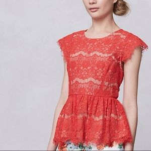 Coming Soon: Anthro Maeve Red Lace Peplum Top